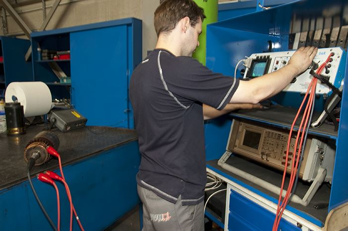 Test bench for reconditioned electrical motors for forklifts, aerial work platforms, telehandlers ...