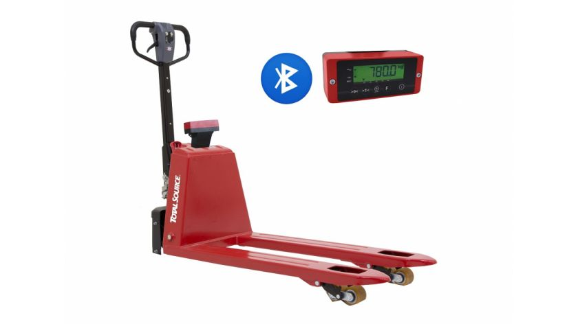 Semi-electric pallet truck with weighing scales