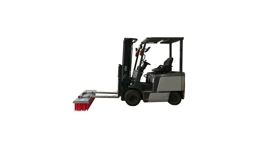 Lazy Sweeper mounted on forklift